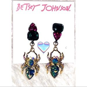 Authentic Betsey Johnson Spider Crystal earrings